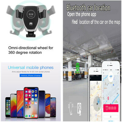 10W Car Air Vent Mount QI Fast Wireless Charger w/ Bluetooth Parking Location