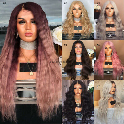 AU Women Fashion Synthetic Hair Wig Long Loose Wavy Pink Full Wigs Cosplay