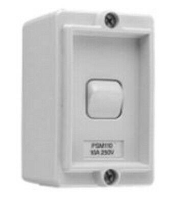 Wilco PROTECTED SERIES MINI SWITCH 1-Gang 250V AC Surface Mount, Grey-10A Or 15A