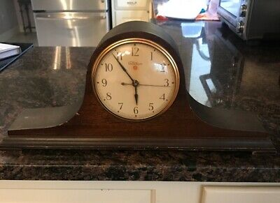 Vintage TELECHRON Electric Mantle Clock Mahogany Wooden Case Working
