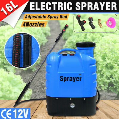 16L 12V Electric Weed Sprayer Rechargeable Backpack Farm Garden Plant Pump Spray