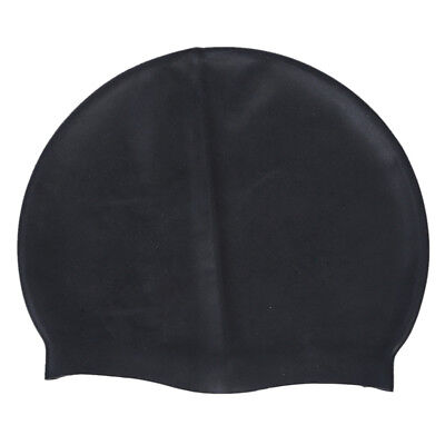 Black Soft Silicone Stretchable Swim Swimming Cap Hat for Adults K1I5