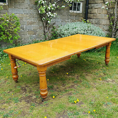 "Edwardian Large 7'9""x 4' Golden Oak Extending Dining Table C1910 (Arts & Crafts)"