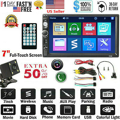 "Car Stereo Radio 2 DIN 7"" HD MP5 FM Player Full Touch Screen + Free Rear Camera"