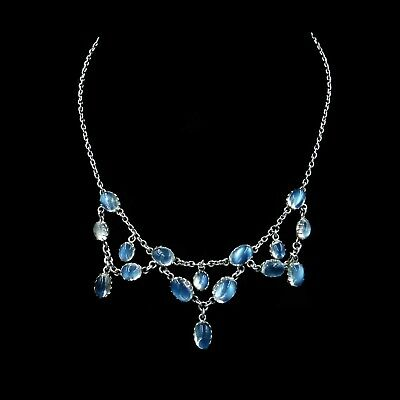 Antique Blue Moonstone Sterling Silver Drop Chandelier Necklace Edwardian C.1900