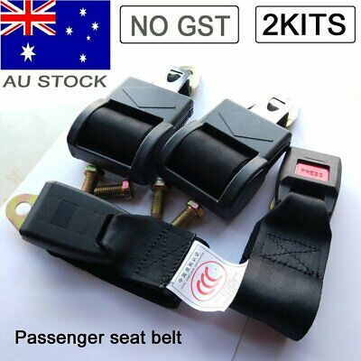 Black 2 Point Retractable Car Seat Lap Sash Belt Strap Safety Seatbelt Fits Ford