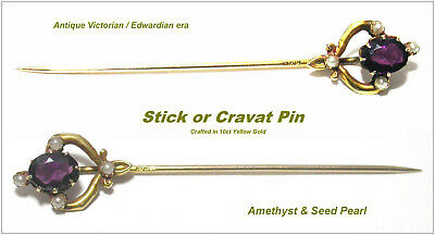 Antique 10ct Gold Stickpin Amethyst & Seed Pearl Edwardian era Stick Pin Brooch