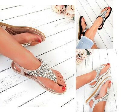 Womens Flat Low Wedge Sandals Platform Heel Diamante Holiday Ladies Summer Shoes