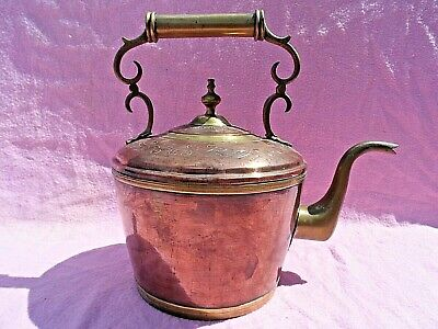 Large Antique Copper & Brass Kettle With Engraved Top & Riveted Scroll Handl Vgc