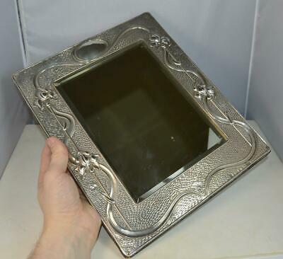 Impressive Art Nouveau English Silver Table Mirror