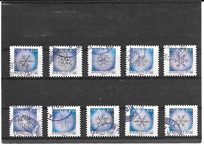 France 2018.FLOCONS of Neige.lot of 10 Stamps Self-Adhesive Postmarks Round