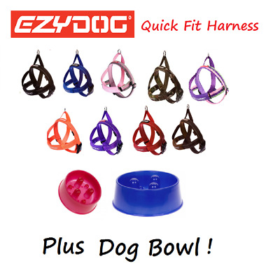 EZYDOG Quick Fit Dog Harness All Colours EXTRA LARGE & Stainless Steel Food Bowl