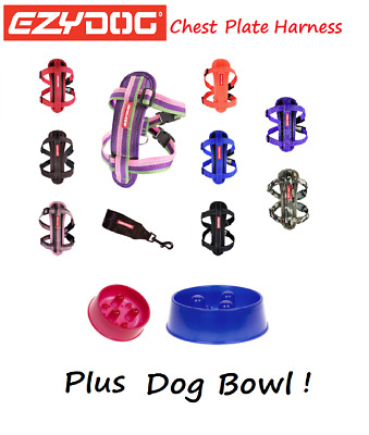 EZYDOG Chest Plate Dog Harness All Colours LARGE & Stainless Steel Food Bowl