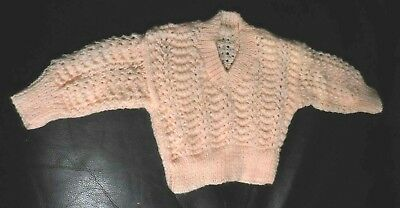 Hand Knitted Peach Pattered Baby Jumper Size 2 54cm Underarm