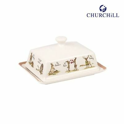 "Churchill Fine China Queens ""Country Pursuits"" Butter Dish with Lid"