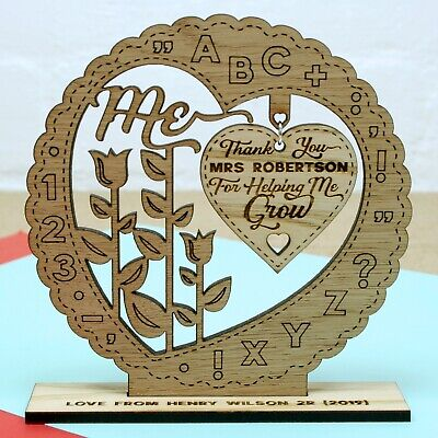 Personalised Teacher Gifts Thank You School Nursery School Leaving 3D Oak Gift