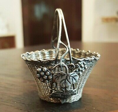 Superb Antique China Chinese Silver Small Basket Marks