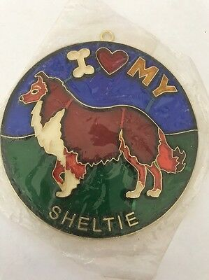 Vintage 1980s I heart my SHELTIE Suncatcher HOW COOL Gotta Love It SC-06