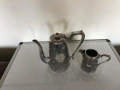 Nice Victorian Silver Plated Large Teapot And Milk Jug  (Sptp & M 66Q)