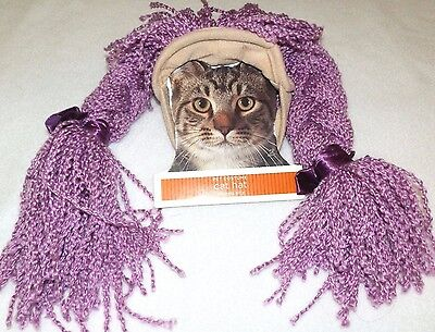 New Pet Costume Cat Hat Purple Hair Braids Halloween dog