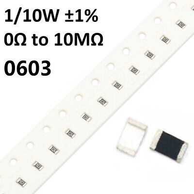 0603 SMD/SMT Resistors/Resistance 1/10W ±1%- Full Range of Values (0Ω to 10MΩ)