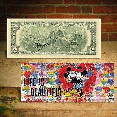 MIKEY & MINNIE MOUSE - LIFE IS BEAUTIFUL $2 Bill Banksy Pop Art SIGNED by Rency