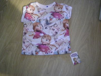 Girls Disney Frozen Short-Sleeved T-Shirt 2-3 Years - Brand New With Tags