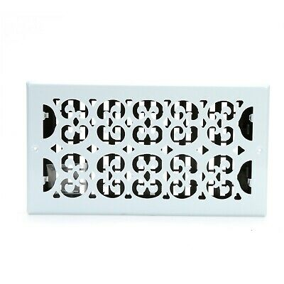 """Decor Grates Scroll Wall/Ceiling Register, Painted White, 6"""" x 10"""""""