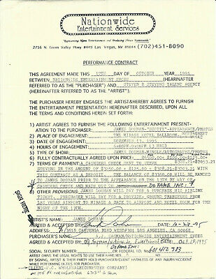 James Doohan Star Trek Scotty 1995 Signed Contract For Mirage Hotel Las Vegas