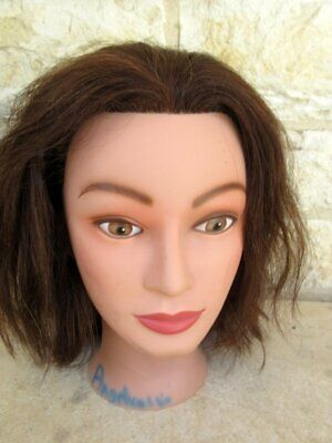 Miss Suzie-Kin Cosmetology Mannequin Head #14901 Brown Human Hair