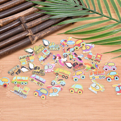 50 Pcs Mixed Wooden Buttons 2 Holes DIY Painting Random Wood Button for Clothing