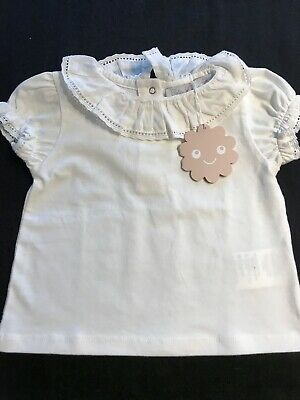 Patachou (Portugal) NWT Cotton Ecru Lace-Edged Blouse -9 Months