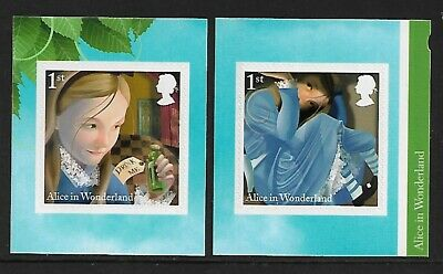 GB 2015 sg3668-69 Alice In Wonderland self adhesive booklet stamps MNH