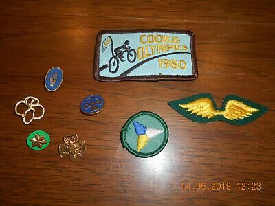 Vintage 1980'S Cookie Olympics, Girl Scout Patches And Pins Usa
