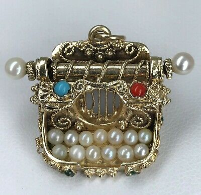 14k SOLID Gold Pearl Jeweled Typewriter Pendant Charm