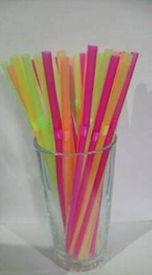 Neon Flexible Bendy Birthday Party Drinking Straw Assorted Coloured Neon& black