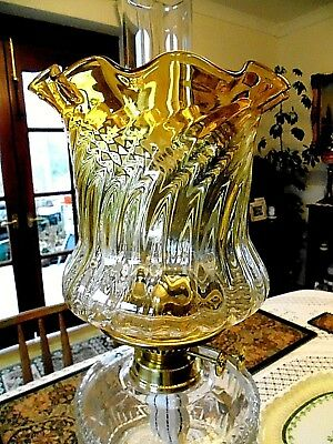 British Fine Quality Golden Amber/Clear Crystal Glass Duplex Oil Lamp Shade.