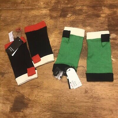 Crown & Ivy Wrist Gloves Preppy  Lot Of 2 Red Navy Green
