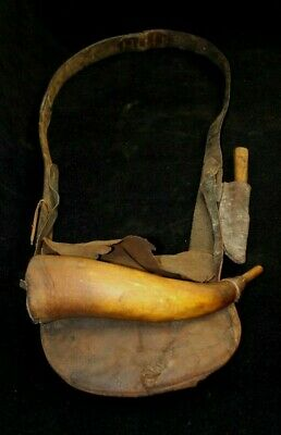 Revolutionary War Era Militia Rifleman Accoutrement Bag, Powderhorn & Knife