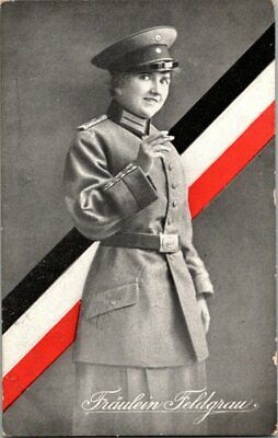 WWI WW1 IMPERIAL German Postcard IN COLOR - Posted - Woman in Uniform
