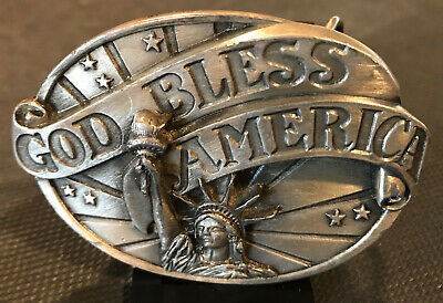 Vintage 1986 Statue of Liberty Belt Buckle God Bless America  Siskiyou Buckle Co