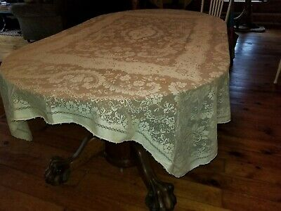"""Lovely Vintage Cream Color Rectangular Lace Tablecloth 85"""" X 65"""""""