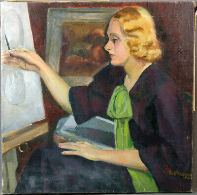 Vintage American Antique Painting Beautiful Young Lady Girl Portrait 1935