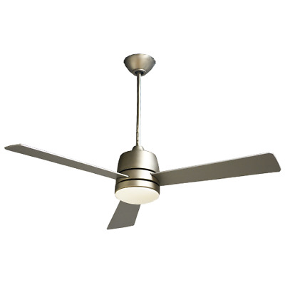 """LED Integrated 3 Blade 52"""" Nickel Ceiling Fan w/ Silver Blades and wall Control"""