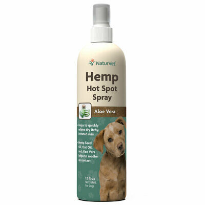 Dog Hot Spot Spray Natural Hemp Oil Pet Grooming Soothing Aloe Itch Relief 12oz