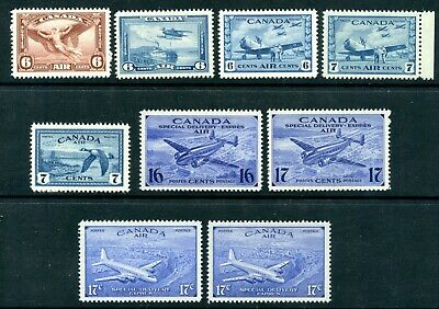 Weeda Canada C5-C9, CE1-CE4 VF MNH 1935-46 Airmail issues CV $69.75