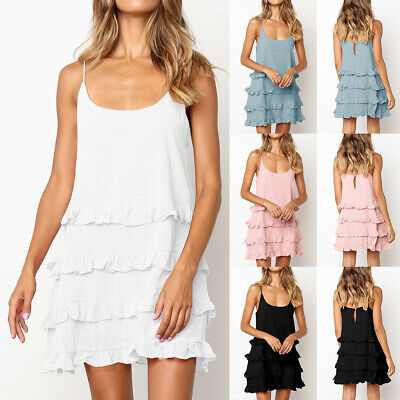 Womens Ruffle Frill Strappy Summer Holiday Party  Beach Short Mini Sun Dress