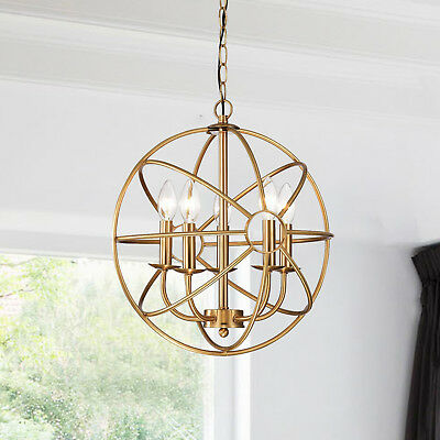 Geometry Orb Design Polished Brass 5-Light Metal Strap Globe Chandelier