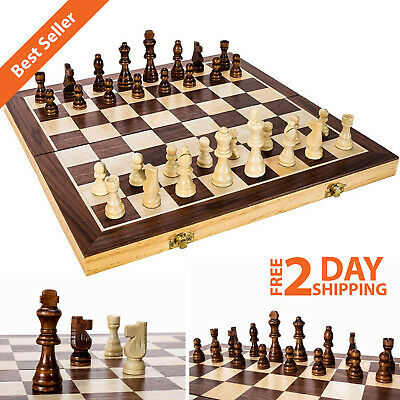 """Wooden Chess Game Set Large 15"""" Wood Board Folding Storage Box Hand Carved Piece"""