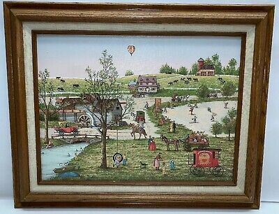 C. Carson Small Town Signed Art Print Wooden Frame 20 X 16.5""